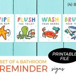 Set of 4 Printables - Bathroom Reminders / Sea Theme / Wipe Your bum, Flush the toilet, Wash your hands, Brush your teeth / Instant Download