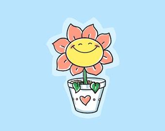 Happy Flower Sticker / Clear Vinyl Sticker / Laptop Sticker / Water Bottle Sticker / Vinyl Decal / Journal Sticker