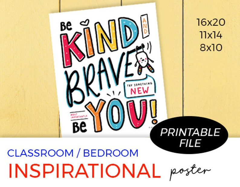 Kids Printable Wall Art Be Kind Be Brave Be You Poster image 0