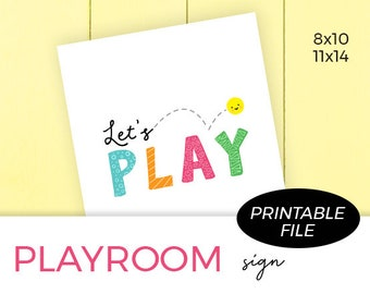 Kids Printable Wall Art, Let's Play, Play Room Decor, Classroom Sign, Digital Download