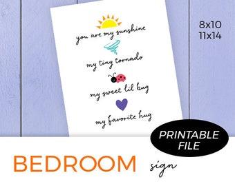 Kids Printable Wall Art, You Are My Sunshine, Kids Room Decor, Digital Download