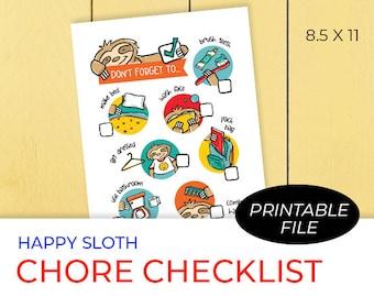 Kids Printable Chore Checklist, Sloth Art, To Do, Chores, Digital Download
