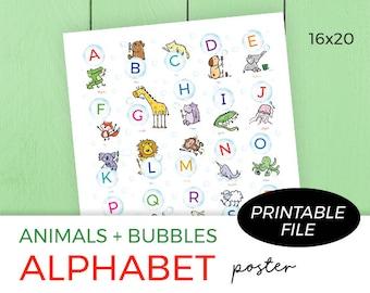 Alphabet Poster, Nursery Printable, Classroom Printable, Gender Neutral, Animals + Bubbles, Digital Download Size 16x20