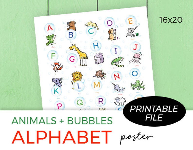 Alphabet Poster Nursery Printable Classroom Printable image 0