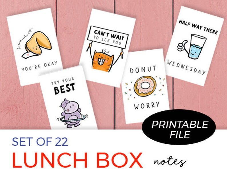 Set of 22 Printable Lunch Box Notes for Kids / Back to School image 1