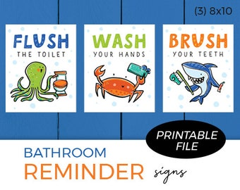 Set of 3 Printables - Bathroom Reminders / Sea Theme / Flush the toilet, Wash your hands, Brush your teeth / Instant Download
