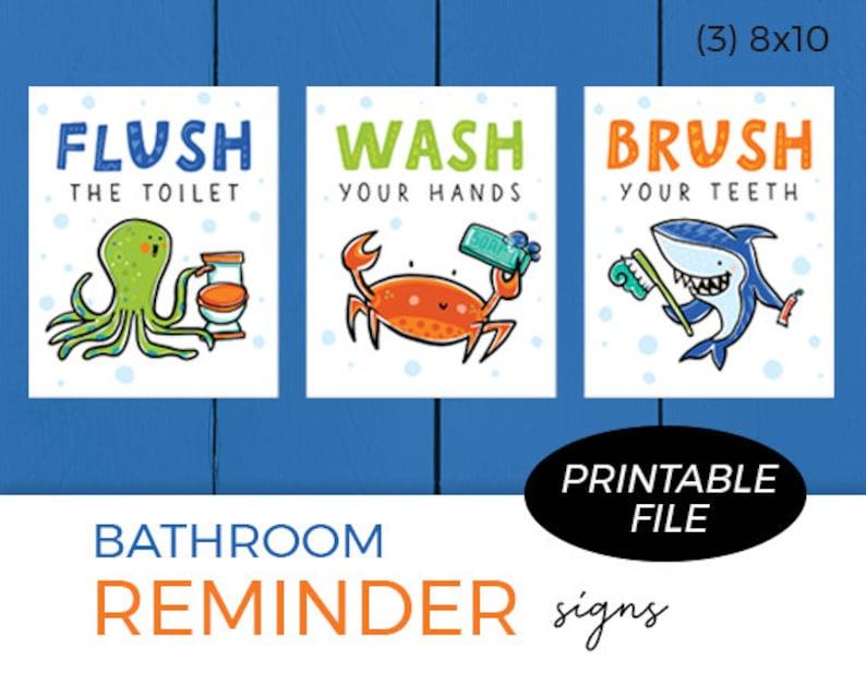Set of 3 Printables  Bathroom Reminders / Sea Theme / Flush image 0