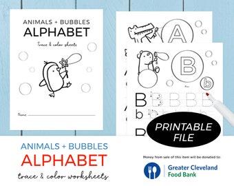 Traceable Alphabet Worksheets/ Alphabet Tracing Letters Printable Pages / Letter Tracing / Alphabet learning / Printable & Instant Download