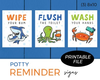 Set of 3 Printables - Potty Reminders / Sea Theme / Wipe your bum, Flush the toilet, Wash your hands / Instant Download