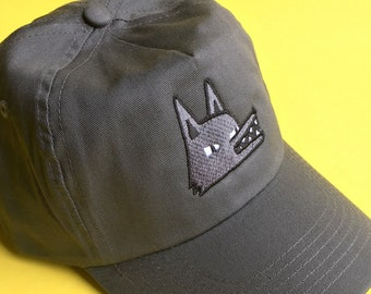 Embroidered Wolf Cap - Grey Hat, Baseball Cap, Dad Hat, Woodland Animal Apparel, Velcro Strap, Animal Lover Gift Idea