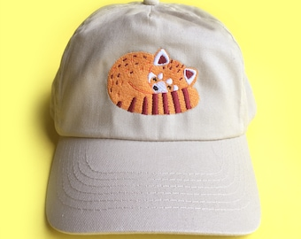 Embroidered Red Panda Cap - Sand Coloured Animal Hat, Baseball Cap, Dad Hat, Animal Apparel, Velcro Strap, Animal Lover Gift Idea