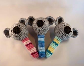 Koala Baby Rattle, Crochet Koala Baby Toy, Amigurumi Koala, Australian Animal, Aussie Baby Gift, Australian Made