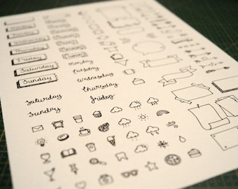 Bullet journal printable stickers/stamps - printable sheet (PDF/JPEG) of stickers to use in your BUJO notebook or planner