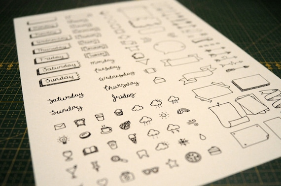 image about Bullet Journal Symbols Printable named Bullet magazine printable stickers/stamps - printable sheet (PDF/JPEG) of stickers in direction of employ the service of within your BUJO laptop computer or planner