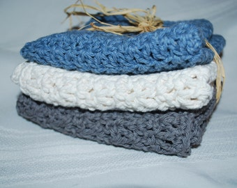 Gray, Blue, and Ivory Crochet Cotton Dishcloths - Set of 3