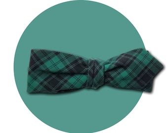 Black Watch Men's Self-Tie Pointed Bow Tie | Emerald Green and Black Plaid Cotton | LIMITED EDITION