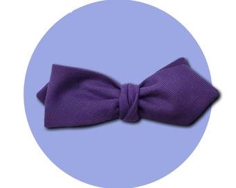 Purple Reign Men's Self-Tie Pointed Bow Tie | Rich Violet Lightweight Cotton | Diamond Blades