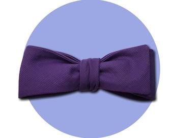 Purple Reign Men's Self-Tie Traditional Bow Tie | Rich Violet Lightweight Cotton | Square Blades