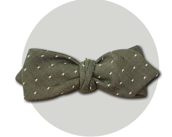 Olive You Men's Self-Tie Pointed Bow Tie | Polka Dot Olive Woven Cotton Chambray | Diamond Blades