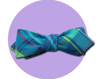 Kentucky Derby Men's Self-Tie Pointed Bow Tie | Vibrant Teal Tones Plaid Woven Cotton | ONE OF A KIND