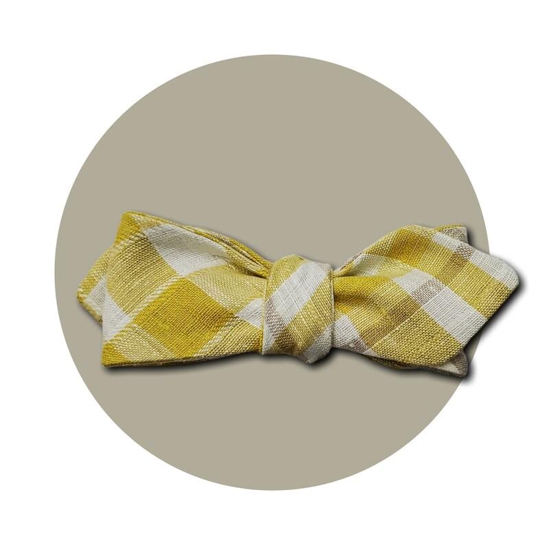 Dapper Day Men's Self-Tie Pointed Bow Tie  Yellow Beige image 0