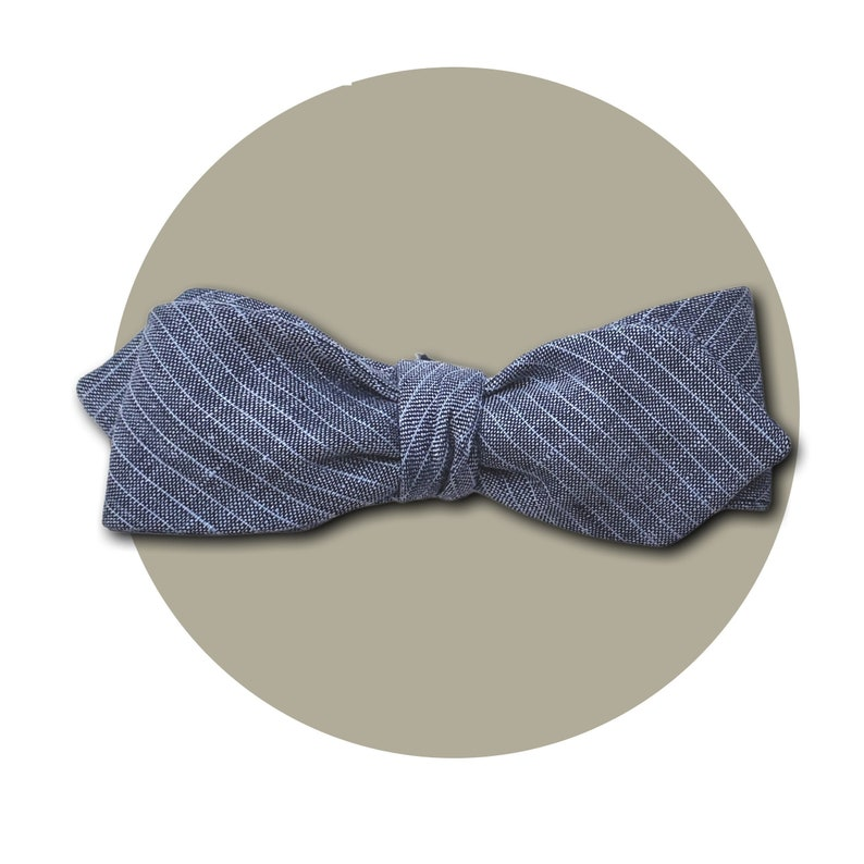 Mr. Conductor Men's Self-Tie Pointed Bow Tie  Pin Stribe image 0