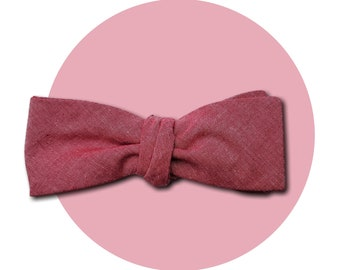 Red Shift Men's Self-Tie Traditional Bow Tie | Subtle Pink to Red Shift Cotton Chambray | Square Blades