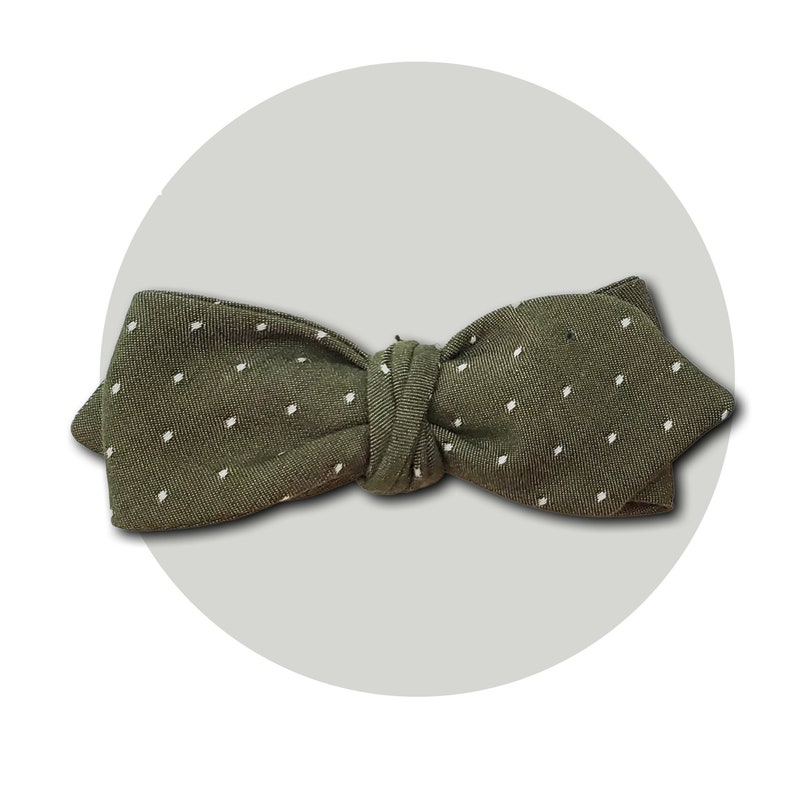 Olive You Men's Self-Tie Pointed Bow Tie  Polka Dot Olive image 0