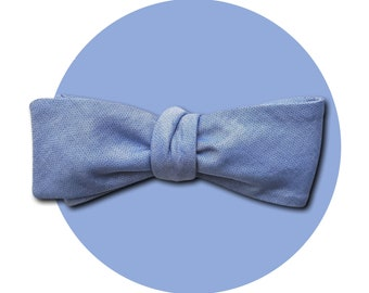 Blue Skies Men's Self-Tie Traditional Bow Tie | Light Blue Lightweight Cotton | Square Blades