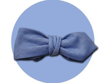 Blue Skies Men's Self-Tie Pointed Bow Tie | Light Blue Lightweight Cotton | Diamond Blades