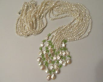 Peridot and Pearls Moon and Stars Necklace Designer Multi-Strands