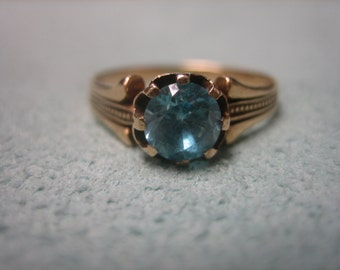 Blue Zircon Rose Gold Ring Retro Antique 14 Karat Gold