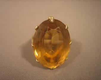 Golden Citrine Ring 14K Yellow Gold