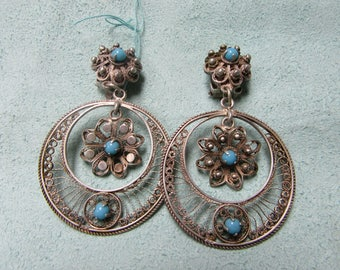 Filigree Sterling Silver Turquoise Earrings from Egypt 1950s