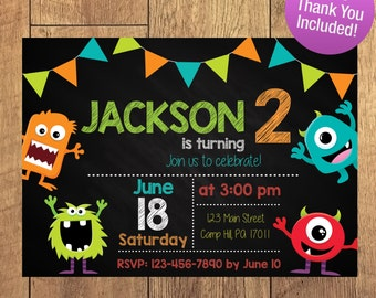 Silly Little Monsters, Birthday Party Invitation, Boy Birthday, FREE THANK YOU Included