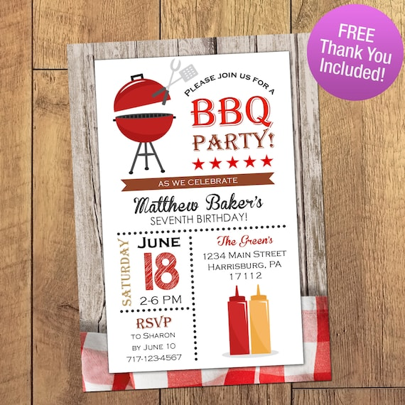 summer bbq invitation printable invitation black and red bbq etsy