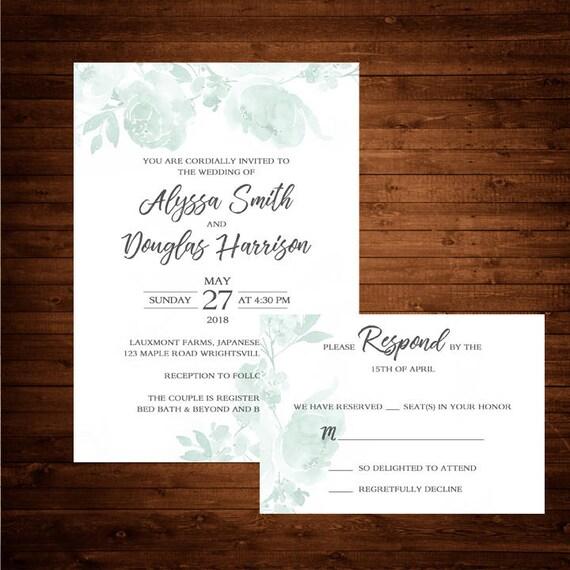 100 Wedding Invitations Mint Green Wedding Invitation Rsvp Card Envelopes Included Wedding Invitations Classy Invitations