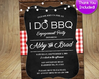 I DO BBQ, Rustic Picnic Engagement Party Invitation FREE Thank You Included