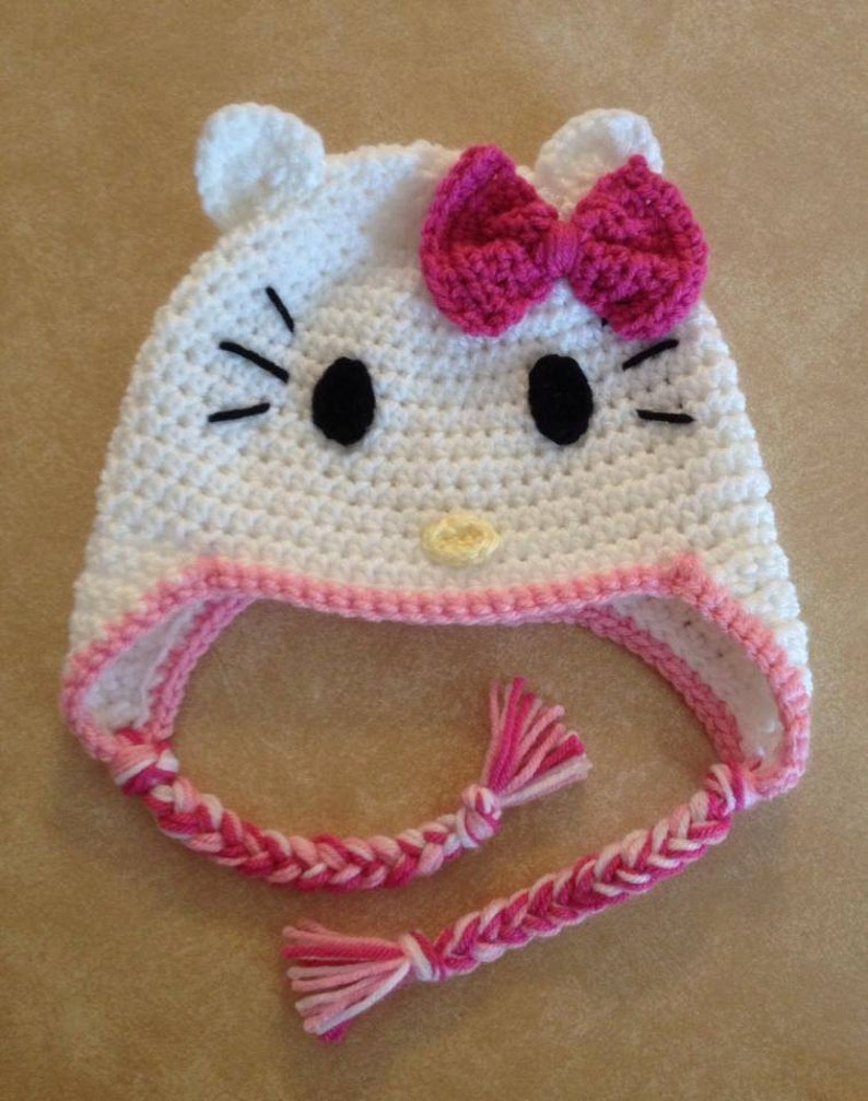 afb5559c43d White Kitty Ear Flap Bow Hat for Girls Baby Toddler and Child