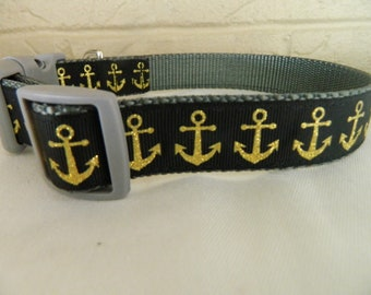 Gold Glitter Anchors on Black Dog Collar