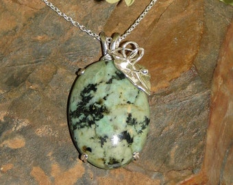 African Turquoise and Sterling Silver Pendant