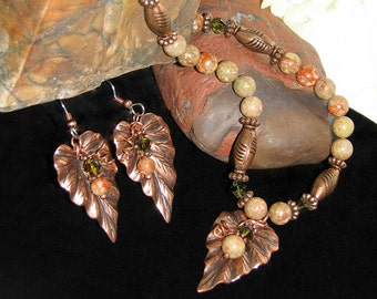 Autumn Jasper/Copper Necklace