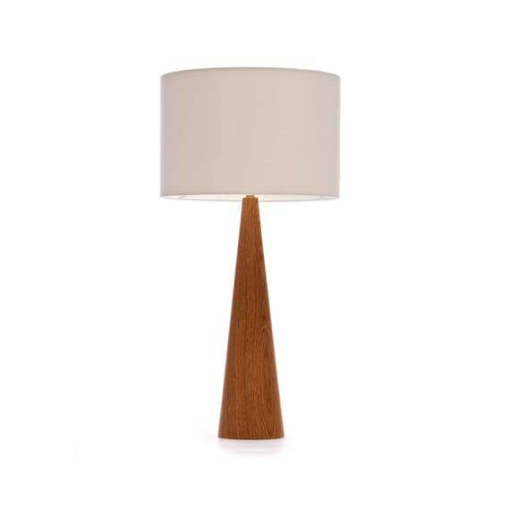Oak Wood Table Lamp Cone Shape 61cm Etsy