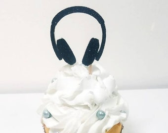 Headphones cupcake toppers food pick cake decorations reunion birthday  party favor 80 s retro music club dj radio dance party anniversary 84baac9445