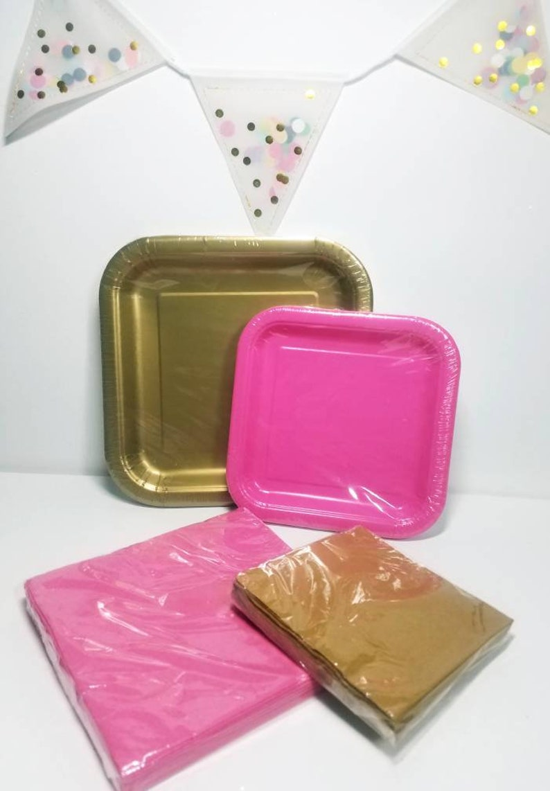 Package deal serves 14 Gold /& hot pink square Party entree and dessert plates napkins tableware birthday anniversary baby shower wedding