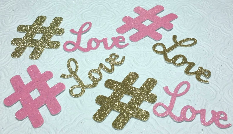 2 Hashtag #Love glitter die cuts wedding bridal bachelorette birthday party baby shower anniversary invitations inserts table decoration