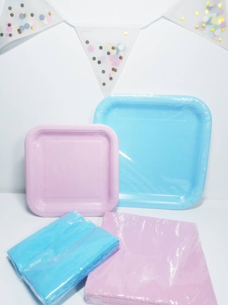 Package deal serves 14 Pink /& Blue square Party entree and dessert plates napkins tableware birthday gender reveal baby shower wedding