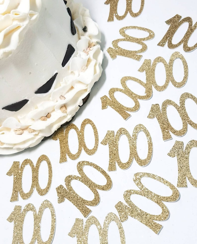 100 100th Birthday Party Anniversary Confetti Die Cuts In
