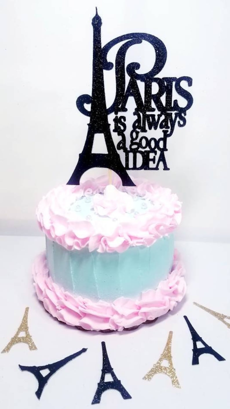 Remarkable Double Sided Paris Eiffel Tower Cake Topper Birthday Party Etsy Funny Birthday Cards Online Aeocydamsfinfo