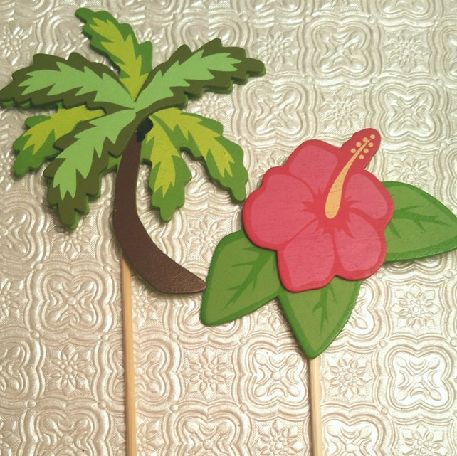 Tropical Amazon Luau Layered Wood Toppers Palm Tree Hibiscus Flower